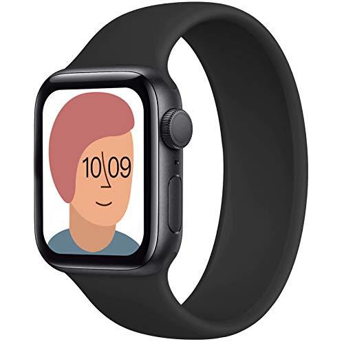 AUNDYYU Solo Loop Armband Kompatibel mit Apple Watch 38mm 40mm 42mm 44mm Für die iWatch Series 6 SE 5 4 3 2 1, Silikon Sport Dehnbare Elastisch Damen Herren Ersatzband, 42/44mm #08 Schwarz