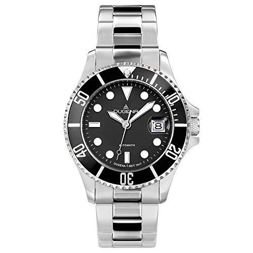 Dugena Herren Automatik-Armbanduhr, Schraubkrone, Gehärtetes Mineralglas, Diver, Silber/Schwarz, 4460512