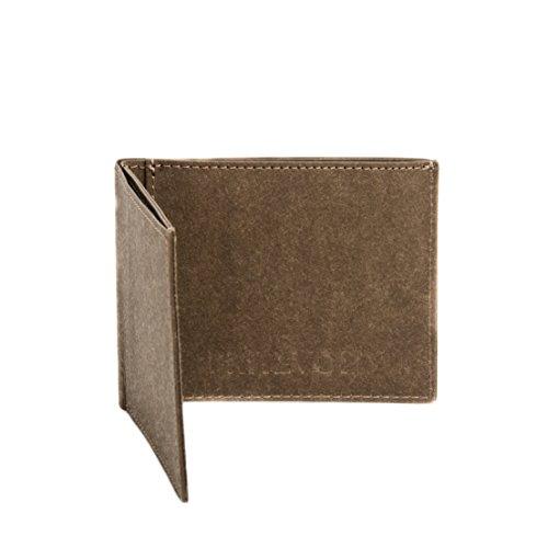 FRITZVOLD MINIMAL Wallet mit Münzfach, kleines, dünnes Portemonnaie für Damen & Herren, extrem Flacher Geldbeutel, Slim Portmonee, Geldbörse aus waschbarem Papier-Kunstleder, braun
