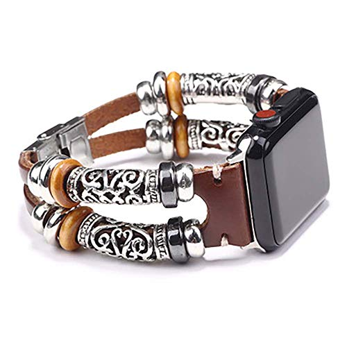 Flyself Herren Retro Metall Lederarmband Armband Kompatibel für Apple Watch 38/ 40mm 42/44mm Metall Edelstahl Ersatzarmband Kompatibel Mit Iwatch Series