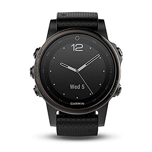 Garmin Fenix 5S Bluetooth-Sportuhr, Schwarz, aus Polymer, Edelstahl und Saphirglas, Silikonband, Wasserdicht bis 10 ATM