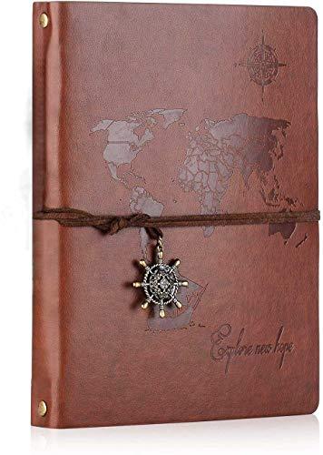 SEEALLDE Leder Notizbuch A5 Leere Seiten Journal Notebook'Weltkarte' Vintage Travel Tagebuch Notiz Skizzenbuch(Braun A5)