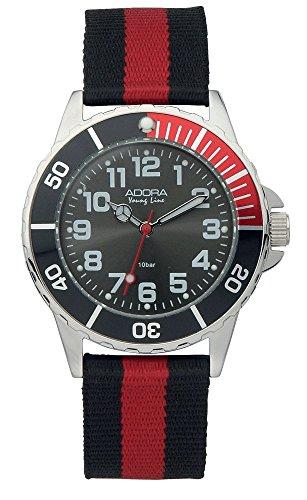 Armbanduhr Analoguhr Sportuhr für Jungen Edelstahl mit Textilband Adora Young Line 28478
