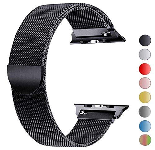 Tervoka Ersatzarmband kompatibel mit Apple Watch 44mm 42mm   Edelstahl Armband   Smartwatch Ersatzarmbänder mit Magnet kompatibel mit iWatch Series 5/4/3/2/1 Schwarz