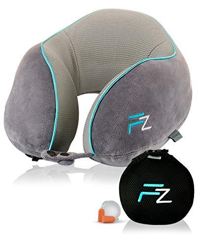 Hybrid-Nackenkissen von FLOWZOOM | Reise-Nackenkissen aufblasbar mit Memory-Foam| Nackenhörnchen aufblasber | Aufblasbares Nackenkissen für Flugzeug, Auto und Zug - Modell Duo grau