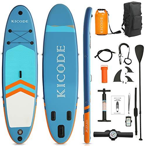 ephex Stand Up Paddle Board Set, Aufblasbare SUP Board, Mit Paddleboards Zubehör 10L wasserdichte Tasche, Tasche, Flossen, rutschfestes Deck, Leine, Paddel und Pumpe (Blau 320 x 81 x 15 cm)