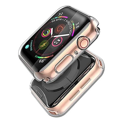 Misxi 2-Stück für Apple Watch Serie 6 / SE/Series 5 / Series 4 Hülle Mit Displayschutz 40mm, Rundum Schutzhülle HD Ultradünne Schutz Case für iWatch (2 Transparente)