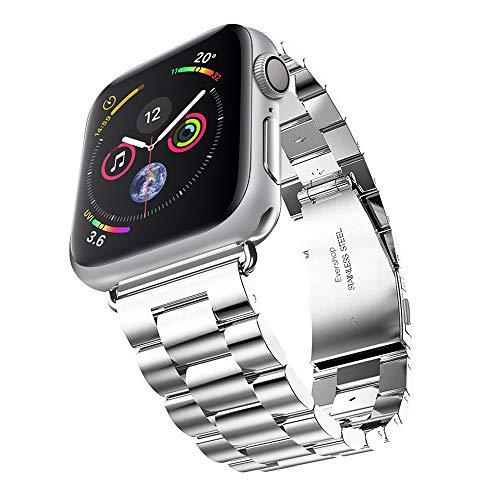 Evershop Watch Armband 42mm/44mm Kompatibel für Apple Watch 6 5 4 3 2 1, iWatch Armband Prämie Edelstahl Uhrenarmband Armband Wiedereinbau Metallhaken für iWatch Alle Modelle(Silber)