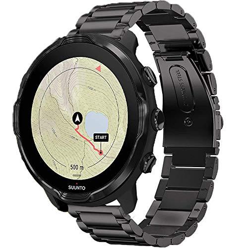 LvBu Armband Kompatibel mit SUUNTO 7, Classic Edelstahl Uhrenarmband für SUUNTO 7 Smartwatch (Schwarz)