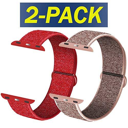 INZAKI kompatibelmit Apple Watch Armband mit 38 mm 40 mm, weicher Sportschlaufe, Riemenersatz für iWatch Serie 5, Serie 4, Serie 3, Serie 2, Serie 1,Rosa Sand&Rot