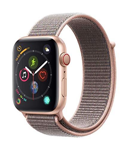 Apple Watch Series 4 GPS + Cellular, 44mm Aluminiumgehäuse, Gold, mit Sport Loop, sandrosa