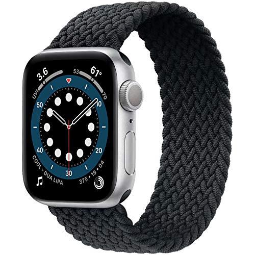 JONWIN Geflochtenes Solo Loop Kompatibel mit Apple Watch Armband 38mm 40mm,Dehnbare Verflochtenen Silikonfasern Sport Ersatzband für Nylon Band für iWatch Serie 6/5/4/3/2/1,SE,Damen,Herren,Grau,7#