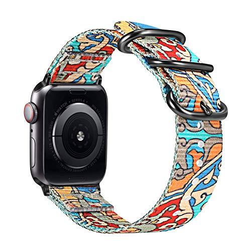 Fintie Armband kompatibel mit Apple Watch 40mm 38mm Series 5/4/3/2/1 - Premium Nylon atmungsaktive Sport Uhrenarmband verstellbares Ersatzband mit Edelstahlschnallen, Farbe-A