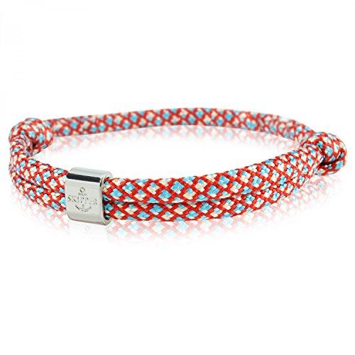 Skipper Surfer-Armband mit Charm für Damen und Herren - Rot/Blau/Weiß 6791