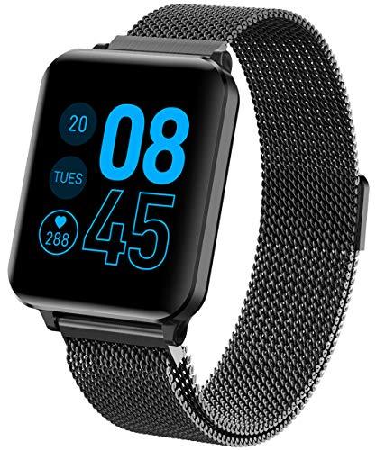 Fitness Trackr Fitness Edelstahl Voller Touch GPS Schrittezähler Blutdrucker Sportuhr Herzfrequenz Wasserdicht IP67 Kalorienzähler Schlafmonitor Kompatibel mit Android und IOS