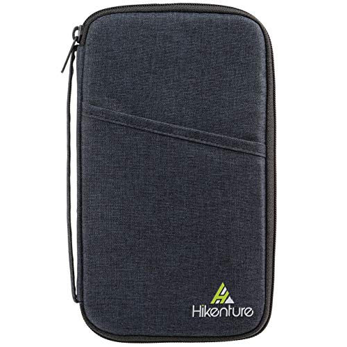 Hikenture Reisepasshülle mit RFID Blockier Ausweistasche Reiseorganizer Dokumententasche Travel Wallet für Pass, Ausweis, Bordkarten, Reisedokumente (Dunkelblau)