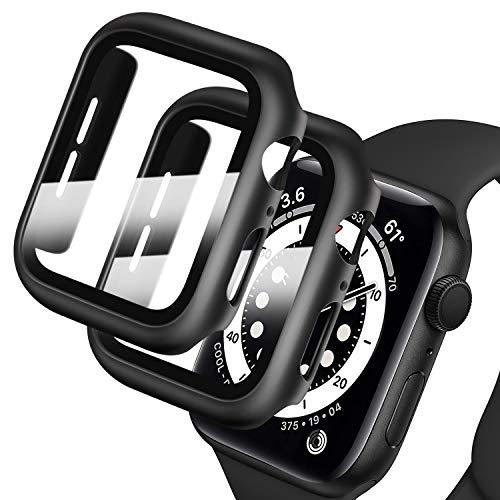 Deilin 2 Stück Hard Hülle mit Diamant und Glas Displayschutz, Kompatibel mit Apple Watch Series 6/ SE/Serie 5/ Series 4 44mm, Bling PC-Schutzrahmen mit Glänzender Oberfläche für Frauen Mädchen iWatch