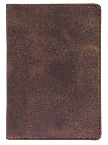 Solo Pelle Reisepasshülle Leder Etui Roma in Vintage Braun Ausweishülle Kartenetui Kreditkarten Tasche Hülle Reise-Geldbörse
