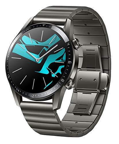 HUAWEI Watch GT 2 Smartwatch (46mm Full-Color-AMOLED, SpO2-Monitoring, Herzfrequenzmessung, Musik Wiedergabe&Bluetooth Telefonie, 5ATM wasserdicht, GPS) Titanium Gray