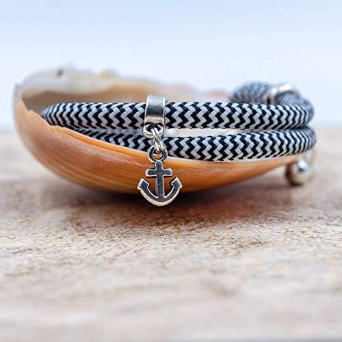 Armband SEGELSEIL mit ANKER|Surferarmband|Metallteile versilbert