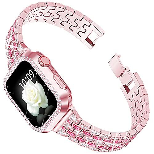 wlooo Armband Kompatibel mit 44mm 42mm 40mm 38mm, Glitzer Herren Damen Mode Kristall Diamant Schmuck Edelstahl Metall Ersatzarm Uhrenarmbänder für iWatch Series SE 6 5 4 3 2 1 (42/44mm)