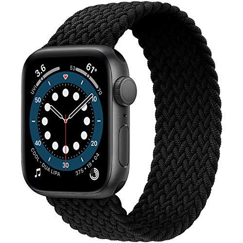JONWIN Geflochtenes Solo Loop Kompatibel mit Apple Watch Armband 42mm 44mm,Dehnbare Verflochtenen Silikonfasern Sport Ersatzband für Nylon Band für iWatch Serie 6/5/4/3/2/1,SE,Damen,Herren,Black,9#