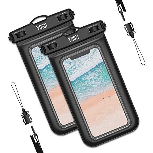 YOSH wasserdichte Handyhülle Unterwasser Wasserfeste (2 stück) Handytasche Wasserdicht für iPhone 11 pro Xs Max XR X 6 7 8 Samsung S10 S9 S8 Huawei Mate 20/P30/P20 Xiaomi bis zu 6,5 Zoll (schwarz)