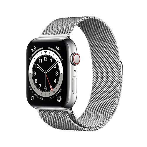 AppleWatch Series6 (GPS+ Cellular, 44mm) Edelstahlgehäuse Silber, Milanaise Armband Silber