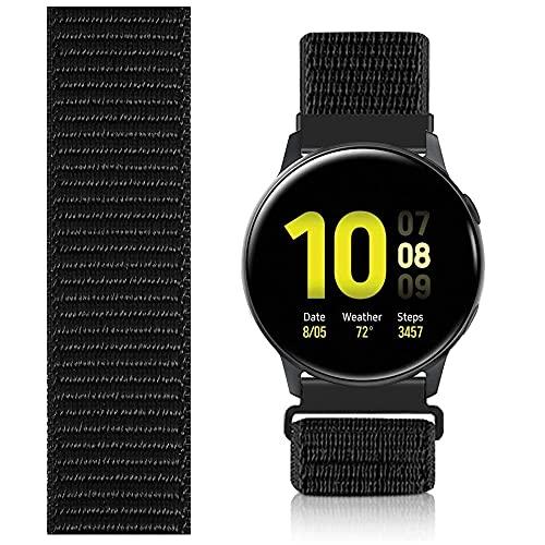 Niboow 20mm Solo Loop Armband Kompatibel mit Samsung Galaxy Watch 4, Nylon Ersatzband für Samsung Galaxy Watch 4 Classic/Galaxy Watch Active/Active 2/Samsung Galaxy Watch 3 41 mm/Gear Sport-Schwarz