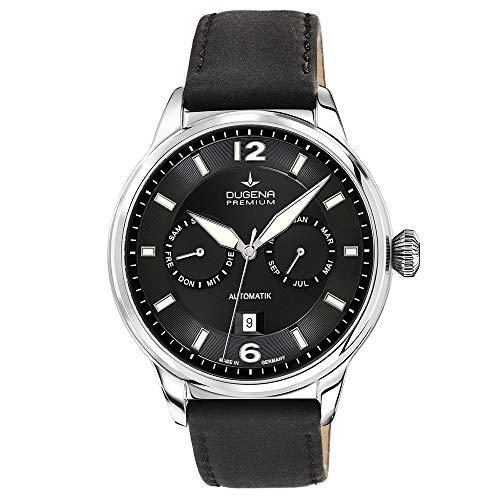 Dugena Herren Automatik-Armbanduhr, Saphirglas, Uhrwerk mit 26 Steinen, Kappa Kalender, Schwarz/Silber, 7000304