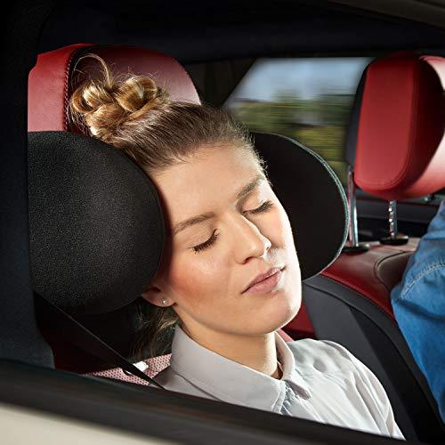 Cartrend Komfort Auto-Kopfstütze inkl. Nackenrolle, klappbar, verstellbar, mit Memory-Schaumstoff