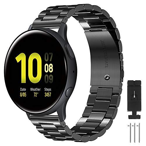 CAVN Armbänder Kompatibel mit Samsung Galaxy Watch Active 2 40mm 44mm / Active 1/ Galaxy Watch 3 41mm, 20mm Edelstahl Metall Ersatzarmband Damen Herren Uhrenarmbänder Kompatibel mit Garmin Forerunner