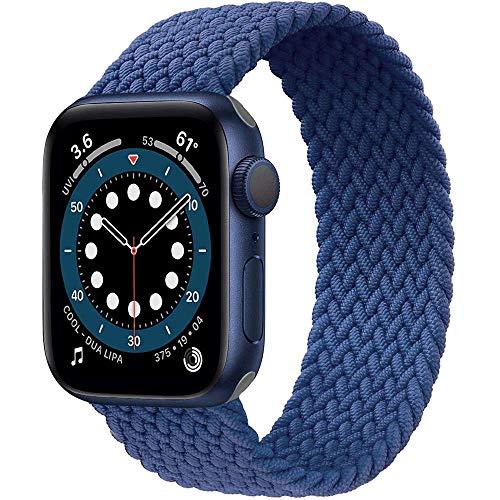 Daihook Dehnbare Verflochtenen Ersatzband Kompatibel mit Apple Watch Armband 42mm 44mm, Geflochtenes Solo Loop kompatibel mit Apple Watch Serie 5/4/3/2/1/6/SE-Blau Nr.8(171mm-178mm Handgelenk)