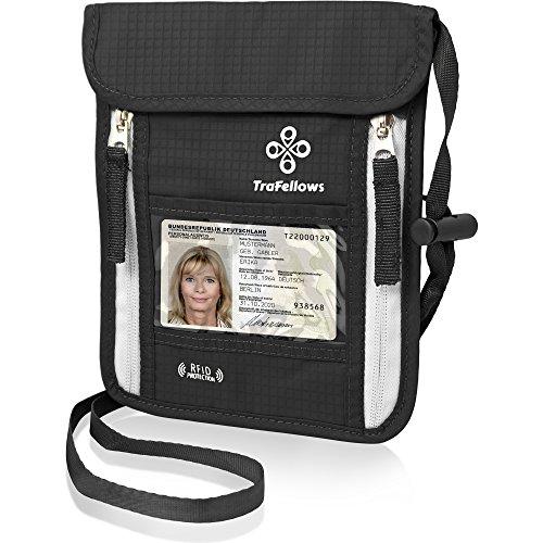 Premium-Brustbeutel mit RFID-Blocker für Damen & Herren   Leichte Brustbeutel-Tasche für maximale Sicherheit für Smartphone & Reise-Dokumente (Schwarz)
