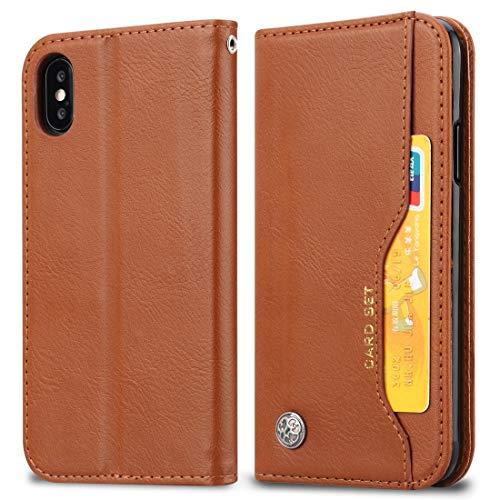 KIOKIOIPO-N Mode Knead Hautbeschaffenheit Horizontal Flip Ledertasche for iPhone XS Max, mit Foto-Rahmen und Halter & Card Slots & Wallet (Color : Brown)