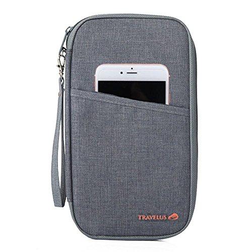 KingSnow Reisedokumententasche , Reisepass Tasche mit Reißverschluss (Grau)