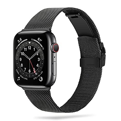 Anlinser Armband Kompatibel mit Apple Watch Armband 40mm 38mm 42mm 44mm 41mm 45mm, Edelstahl Metall Ersatzband Kompatibel mit iWatch Series 7 6 5 4 3 2 1 SE (42mm/44mm/45mm, Schwarz)