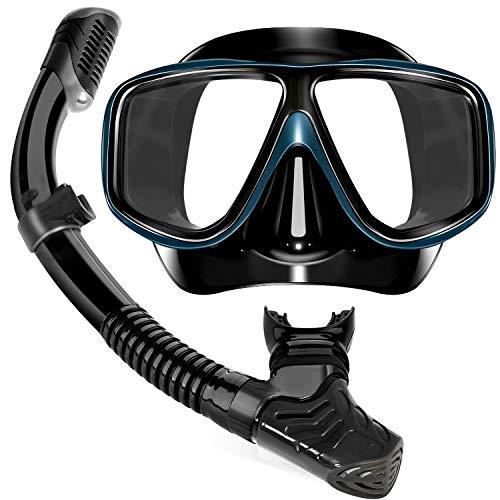 Yerloa Taucherbrille für Erwachsene, Schnorchel Set Professionelle Schnorcheln Tauchausrüstung Volltrockener Schnorcheln mit Silikonmundstück, Schnorchelmaske Tauchmaske für Mann und Frau