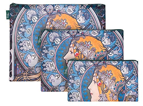 Reißverschlusstaschen für Reiseutensilien – Koffer Organizer Taschen Set 3-teilig - Kulturtasche Kosmetiktasche für Damen und Mädchen – Kleine Makeup Schminktasche (Mucha Zodiac)