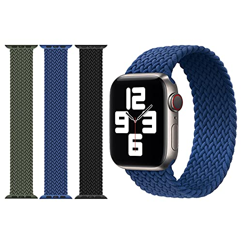 AnVerse 3 Stück kompatibel mit Apple Watch Armband 38/40/42/44mm Elastisches Stretch Nylon Geflochtene Solo Loop Sport Straps Ersatzarmband für Iwatch Se Serie 6/5/4/3/2/1 (Schwarz/Blau/Grün)