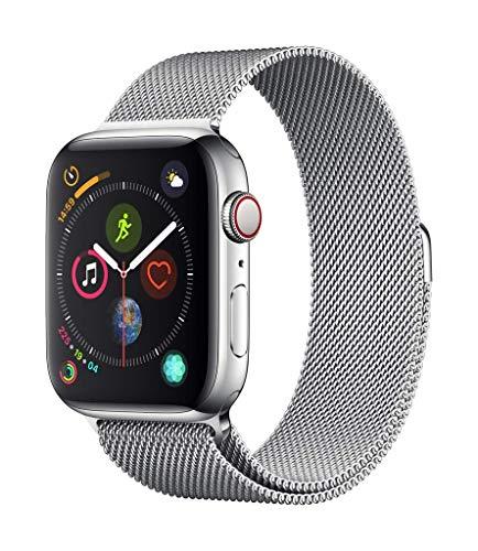 Apple Watch Series 4 GPS + Cellular, 44mm Edelstahlgehäuse mit Milanaise Armband