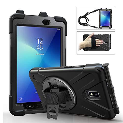 FONREST Schwerlast Hülle für Samsung Galaxy Tab Active 2 8.0-Zoll T390/T395/T397, Hybrid Stoßfest Fall mit 360° drehbar Handgriff, Ständer, Schulter Gurt, S-Stift Halter (Schwarz)