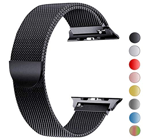 Tervoka Ersatzarmband kompatibel mit Apple Watch Armband 44mm 42mm, Metal Edelstahl Armband mit Magnet kompatibel mit iWatch Series 6/5/4/3/2/1, Schwarz