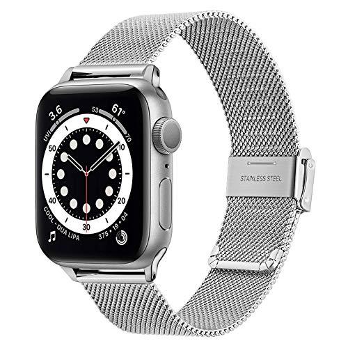 TRUMiRR Ersatz für Apple Watch Series SE/Series 6 38mm 40mm Armband, Mesh Gewebte Edelstahl Uhrenarmband Metall Armband für iWatch Apple Watch SE Series 6 5 4 3 2 1 Männer Frauen