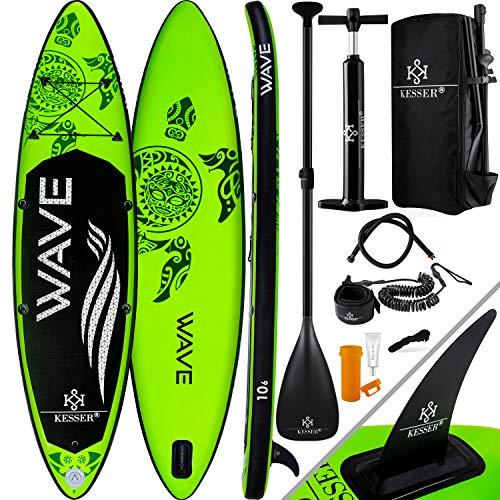 KESSER® Aufblasbare SUP Board Set Stand Up Paddle Board | 366x76x15cm 12.0' | Premium Surfboard Wassersport | 6 Zoll Dick | Komplettes Zubehör | 130kg, Grün