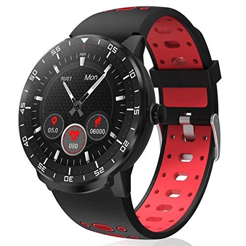 Smartwatch Fitness Tracker,HopoFit HF06 Voller Touchscreen mit Pulsmesser Schlafmonitor, Wasserdicht Schrittzähler,SMS-Erinnerung Aktivitätstracker Herren Damen für Android iOS (red)