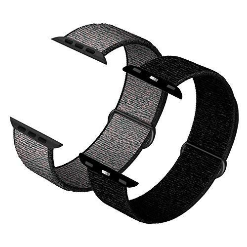 JONWIN kompatibelmit Apple Watch Armband mit38mm 40mm, weicher Sportschlaufe, Riemenersatz für iWatch Serie 6, Serie 5, Serie 4, Serie 3, Serie 2, Serie 1,Dark Black&RoyalPulse