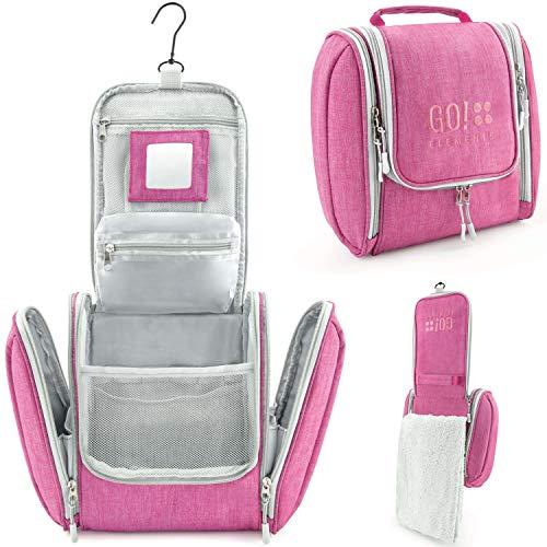 GO!elements Kulturbeutel Kulturtasche zum Aufhängen Herren & Damen   Kosmetiktasche groß Mann Frauen für Koffer & Handgepäck   Waschtasche Reise-Tasche, Farbe:Pink