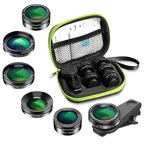 APEXEL 6 in 1 Handy-Objektiv-Kit, Super 210 ° Fischaugenobjektiv + 2x Teleobjektiv + 120 ° Weitwinkelobjektiv und 15x Makroobjektiv + Sternfilter + CPL für iPhone Samsung und die meisten Smartphone