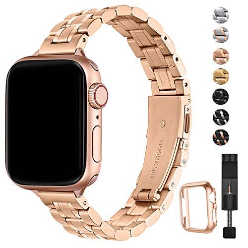 HEKAI Armband Kompatibel mit Apple Watch Armband 38mm 42mm 40mm 44mm Metall,Schlank Verstellbare Edelstahl Ersatzbänder für die iWatch Serie 5/4/3/2/1 (38mm 40mm, Roségold)